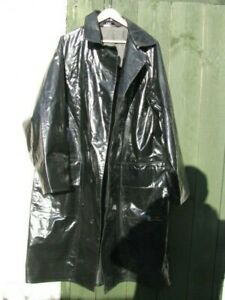Vintage Damaged PVC Glossy Black Oversized Vinyl Raincoat 48 L / XL