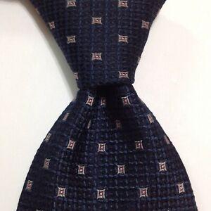 BRIONI Men's 100% Silk XL Necktie ITALY Luxury Geometric Blue/Gray/Pink EUC