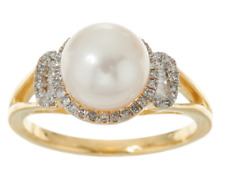 HONORA 14K YELLOW GOLD 8.00MM CULTURED PEARL & DIAMOND RING SIZE 5 QVC $540