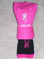 Browning Hat and Sock Combo - Pink Hat - Black/Grey Socks - Medium  9 to 11