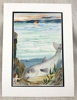 Originale Acquerello Pesce Pittura per Bambini Libro Disegno Fantasia Art Oceano