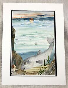 Original Watercolour Fish Painting Children's Book Artwork Fantasy Art Ocean