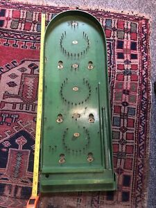 Vintage Green Wooden Bagatelle Pinball Board Game With Ball Bearings And Marbles