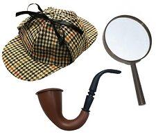 Sherlock Holmes Fancy Dress Detective Kit Deerstalker Hat Pipe &magnifying Glass