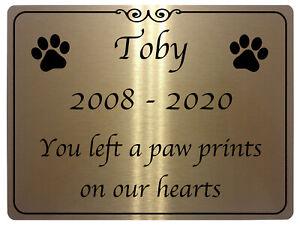 960 Custom Personalised Memorial Pets Dog Paw Prints Metal Aluminium Plaque Sign