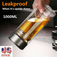 1000ML Large Glass Water Bottle Double Walled Travel Mug with Tea Infuser Sports
