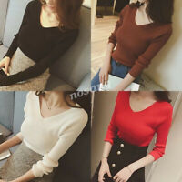 Sexy Women Knit V Neck Peplum Sweater Bottom Shirt Slim Cocktail Club Top Blouse