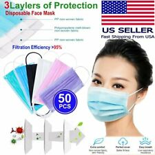 Disposable 50 Pcs Face Mask 3 Ply Dust Filter Respirator Breathable Safety New