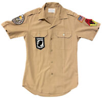 Vintage Creighton USMC Marines Khaki Military Combat Shirt Men's Size S