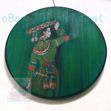 Chinese Art Hand Painted ⌀28cm Wood Plate wall tabletop decor: Dai Minority Girl