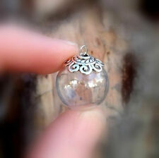5 Snowflake GLOBE w/ornate bead cap (celtic/vial pendant/mini/ bottles/ornament)