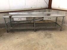 Antique Industrial Vintage 9 12 Ft Commercial Kitchen Prep Table With Backsplash
