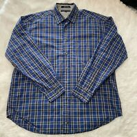 Tommy Hilfiger Mens Size Large Blue & Yellow Long Sleeve Button Down Shirt EUC