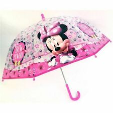 Disney Minnie Mouse Pink Transparent Umbrella Girls Dome Brolly