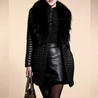 Women Winter Faux Leather Fur Collar Long Sleeve Coat Jacket Outerwear Overcoat