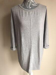 F&f Women Tunic Jumper Size 10 Light Grey Oversized 3/4 Sleeved Crew Neck