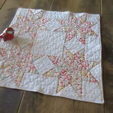 """Pretty Feedsack Stars! Vintage 30s Doll or Table QUILT 18 x 18"""""""