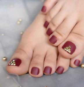 24Pcs Fashion mehroon Short False Fake Toe NailsToes Nail Art Tool Artificial