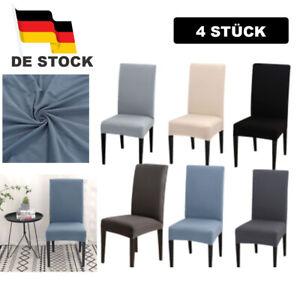 4 STÜCK Stuhlhussen Stretch Baumwolle Stuhlbezug Universal Stuhlüberzug DE