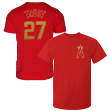 Mike Trout T-Shirt Los Angeles Angels MLB Soft Jersey #27 (S-3XL) Gold