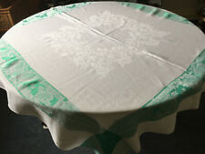 More details for vintage white glossy rayon damask green border tablecloth square 48x48