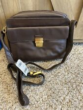 NEW PERLINA NEW YORK GENUINE LEATHER BROWN CROSSBODY MESSENGER PURSE HAND BAG
