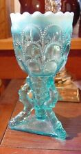 "Northwood c. 1903 Blue Opalescent  ""Beads & Bark"" Footed Vase"