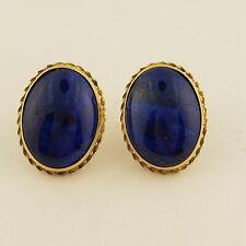 Yellow Gold Oval Pushback Earrings New listing Lapis lazuli 14 Karat