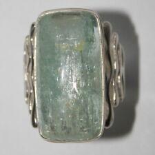 Aquamarine silver ring, Large blue beryl artistan ring,  11 size ring