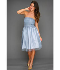 Donna Morgan ~ Blue Tulle Overlay Strapless Fit & Flare Party Dress 14 NEW $178