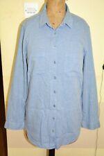 Women's Blue Chambray Shirt Blouse 100% Indian Cotton Long Sleeve Button Collar