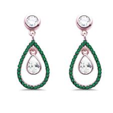 Rose Gold Plated Emerald & White Cubic Zirconia Dangle .925  Silver Earrings
