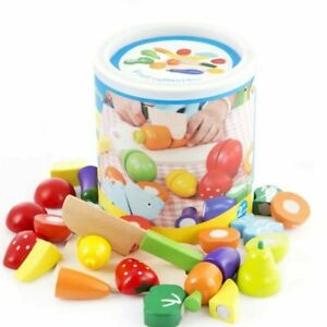 Kids Children Wooden Toy Fruit Vegetable Cutting Pretend Cooking Play Role Play