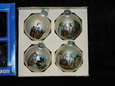Shiny Brite 4 Poloron Christmas Ornaments Night Before Santa Stocking White Wrap