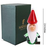 Murano Christmas Winter Decorative Glass Gnome Figurine,Gift & Orname by Matashi