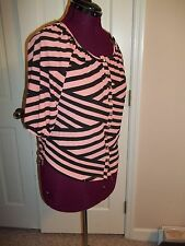 RUE 21 LADIES SIZE S. BUTTON UP TOP STRIPED PEACH & BLACK 3/4 SLEEVES SLINKY