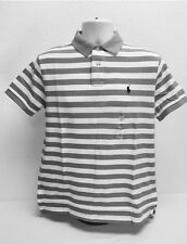 Polo Ralph Lauren Mens Polo Shirt Custom Fit Mesh Knit Striped Pony Logo Gray M
