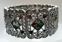 Design Armband hochwert Perlmutt elastisch Metall Schmuck bunt silber schwer NEU
