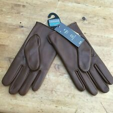 BRAND NEW M & S BROWN LEATHER MENS GLOVES THERMOWARMTH MARKS & SPENCER MEDIUM M