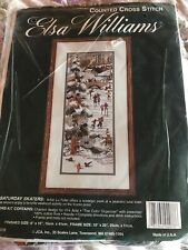 SATURDAY SKATERS Counted Cross Stitch Kit ~Pine Tree, Birds, Winter, Pond