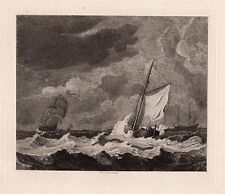 "Strong Willem Van de Velde 1800s Etching ""Sailing Rough Seas"" SIGNED Framed COA"