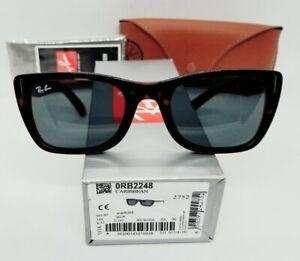 "RAY BAN tortoise/blue ""CARIBBEAN RB2248 902/R5 52 sunglasses! NEW IN BOX!"