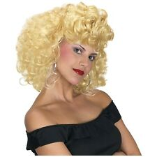 Cool 50's Girl Wig Adult Sandy Grease Curly Blonde Halloween Costume Accessory