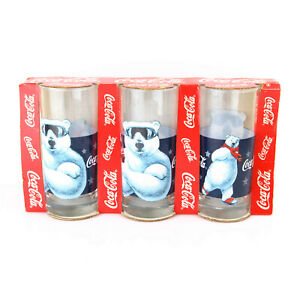 3 x Vintage Coca-Cola Polar Bear Christmas Tumbler Glasses 1997 *New Old Stock*
