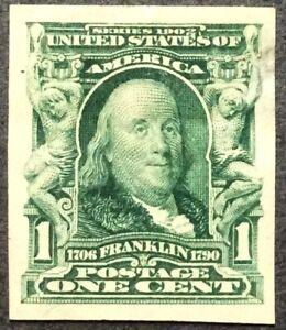 1906 1c Franklin Imperf. regular issue, Scott #314, Used, VF, very light CNX
