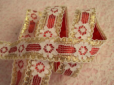 Gold and White Beading Lace Trim with Ribbon, Assorted Colors, 3 YARDS