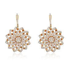 Natural 3.65 TCW HI/SI Diamond Pave Fine Dangle Earrings 18k Rose Gold Jewelry