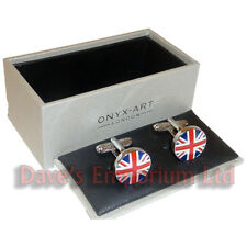 Round Union Flag Cufflinks Onyx Art - Gift Boxed - Jack British UK Cuff Links