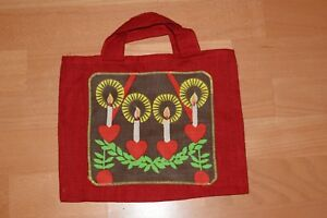 Handmade Linen Christmas Gift Bag Wrapping  Red Linen Aplique Candles Ornaments