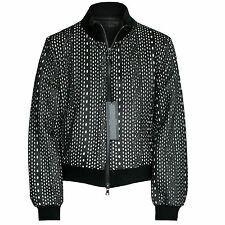 DROMe $1,960 laser cut zip-front black leather coat AW13 bomber jacket S NEW